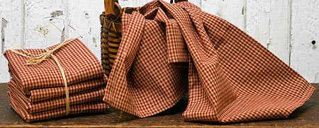 (Set of 3 Homespun Red Check Kitchen Tea Towels)