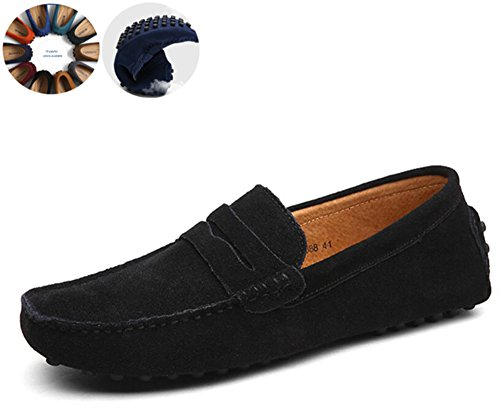 Go Tour Men's Classy Fashion Slip Penny Loafers Casual Suede Leather Moccasins Driving Shoes Flats Classic Boat Shoes Black 40 Suede Loafers Shoes