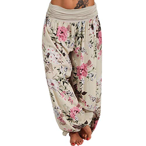 CCatyam Plus Size Pants for Women, Harem Trousers Wide Leg Floral Print Loose Fashion Beige