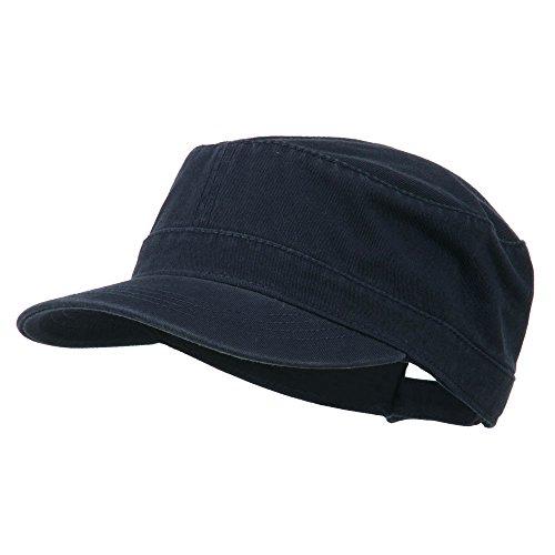 Garment Washed Adjustable Army Cap - Navy OSFM