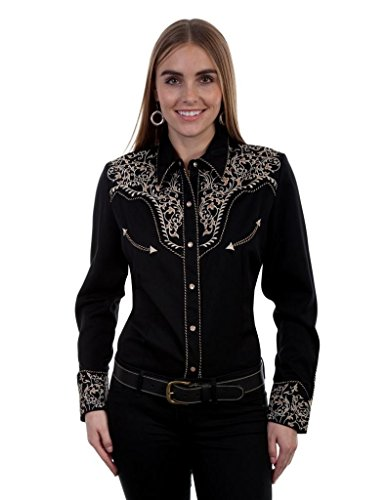 Snap Two Tone (Scully Western Shirt Womens L/S Snap Two Tone Scroll XXL Black PL 866)