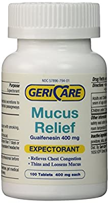 100 Count Bottle Expectorant Mucus Relief Guaifenesin 400mg active ingredient as in Mucinex® Relieves Chest Congestion
