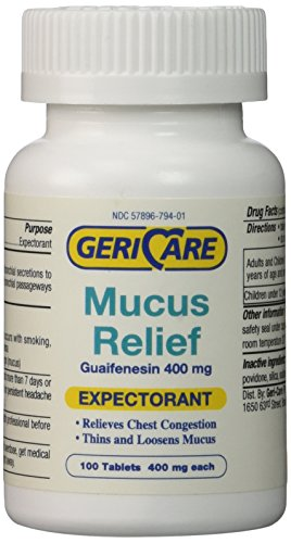 - Mucus Relief Tablets by Geri-Care | Expectorant for Chest Congestion Relief | Guaifenesin 400mg | 100 Count Bottle
