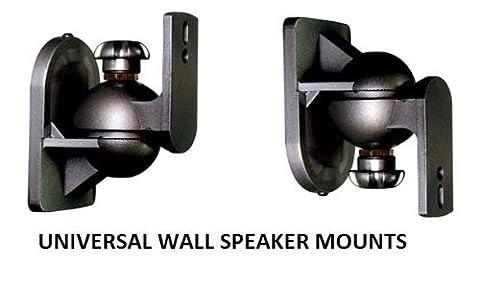 EZ Mounts -(1 Pair) Universal satellite surround sound speaker mounts / Brackets / Stands Max weight 7.5 lbs - Fits rear mounting speakers such as Bose, Yamaha, Samsung, Sony, Vizio, Phillips, LG, JBL, Onkyo, Pioneer, Polk, Logitech, Cinemate, Lifestyle & Acoustimass (Audio Speaker Mounts)