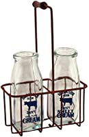 "CWI Gifts Small Vintage Milk Bottles with Carrier, 9"" x 5.75"""