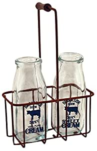 """CWI Gifts Small Vintage Milk Bottles with Carrier, 9"""" x 5.75"""""""