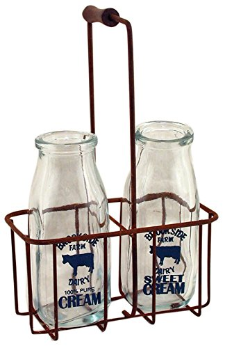 Small Vintage Milk Bottles with Carrier