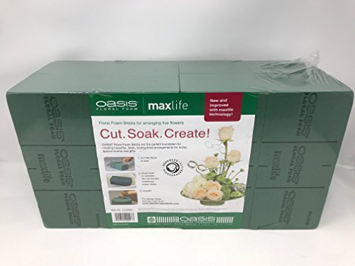 Large Oasis - Oasis Pack of 8 Standard Floral Foam Bricks. New and Improved with MaxLife Technology for Longer Fresh Flower Life.