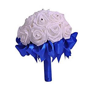 ZTTONE Wedding Bouquet, Crystal Roses Bridesmaid Wedding Bouquet Bridal Artificial Silk Flowers 3