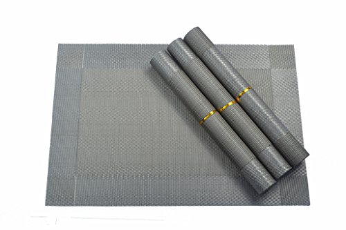 SUNLAX Placemat, PVC Woven Vinyl Washable Dining Table Mats Silver-gray, Set of 4