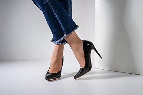 Mila Lady Bonnie08 Donna Moda Impreziosita Scintillio Contrasto Colore Scarpe A Punta Pompe Tacco Alto Stiletto Sexy Slip On Dress Scarpe, Peltro / Bk