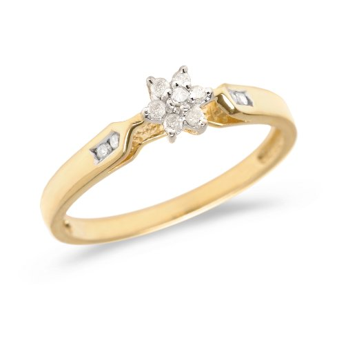 0.09 Carat ctw 14k Gold Round White Diamond Solitaire Cluster Flower Engagement Promise Ring - Yellow-gold, Size 7