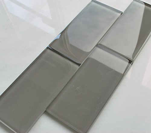 3x6 Cool Gray Subway Clear Glass Tile Backsplash Wall