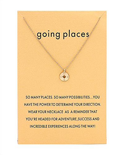 CYBERNY Women Going Places Compass Pendant Necklace with Message Card Golden