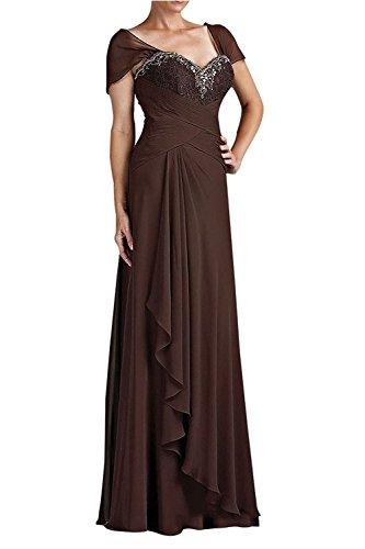 Langes Spitze Chiffon La mia Brautmutterkleider Abendkleider Braut Festlichkleider Kurzarm Partykleider Braun mit Elegant q4RwI