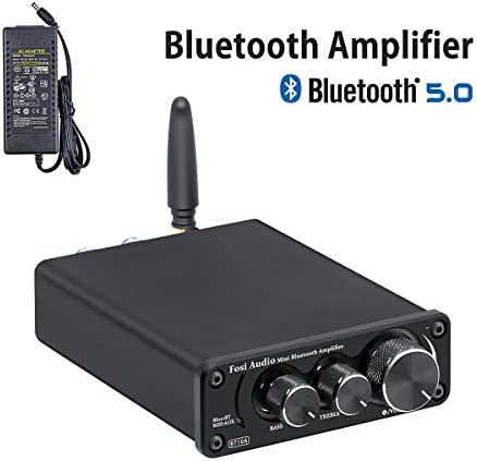 2020 Upgraded Bluetooth 5.0 Stereo Audio Amplifier Receiver 2 Channel Class D Mini Hi-Fi Integrated Amp for Home Speakers 50W x 2 TPA3116 – Fosi Audio BT10A