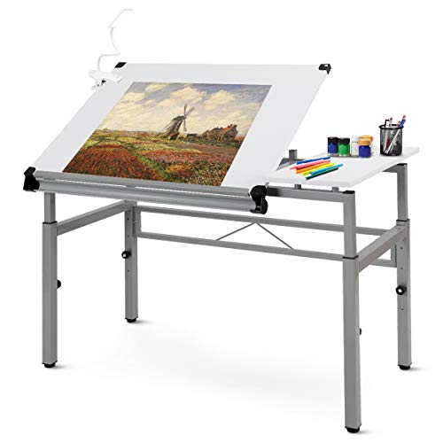 Tangkula Adjustable Drafting Table Art & Craft Drawing Desk Folding with Side Shelf White ()