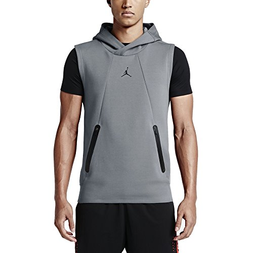 Nike Mens Air Jordan Lite Fleece Training Hoodie Vest Cool Grey/Black (Large) by Jordan