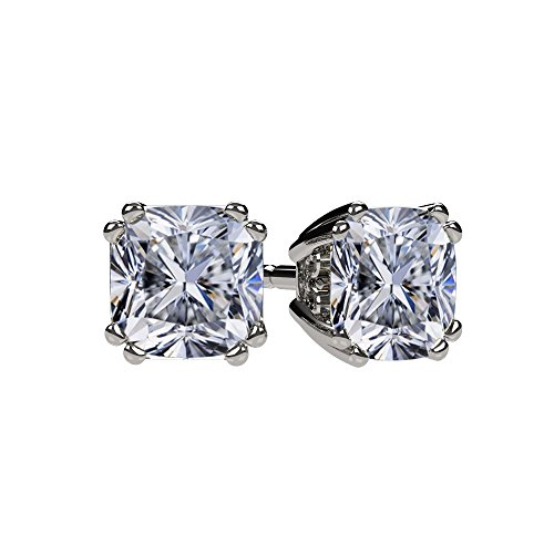 NANA Cushion-Cut Stud Earrings Swarovski Zirconia Silver 14k Solid Gold Post 0.60cttw – 4.00ct. Weight