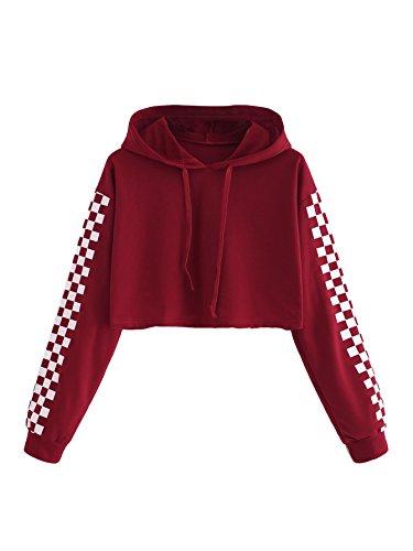 (MAKEMECHIC Women's Pineapple Embroidered Hoodie Plaid Crop Top Sweatshirt Burgundy-1 M)