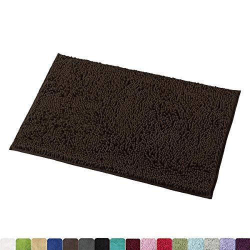 MAYSHINE 20x32 Inches Non-Slip Bathroom Rug Shag Shower Mat Machine-Washable Bath Mats with Water Absorbent Soft Microfibers of - Brown