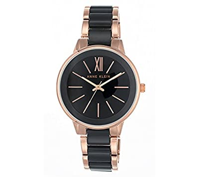 Anne Klein Rose Goldtone And Black Plastic Watch