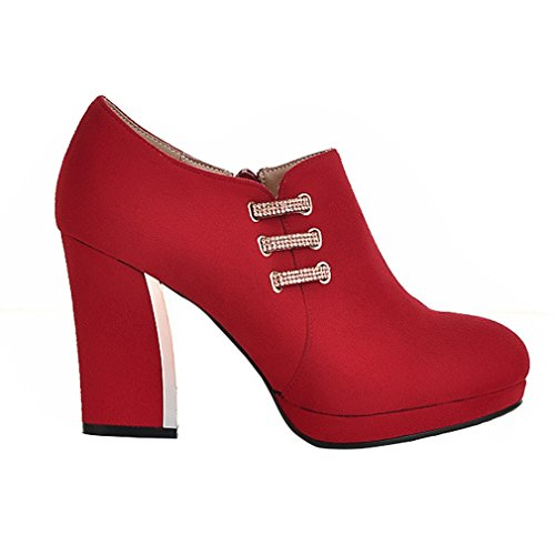 ENMAYER Womens Nubuck Leather Cute Round Toe Zipper Block Heels Rhinestones Ankle Boots Red u7UkZ