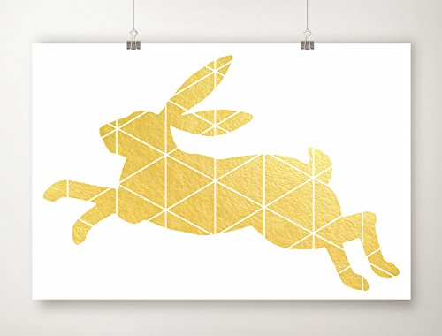 Gold Foil Rabbit Print, Geometric Animal Artwork, Gold Leaf