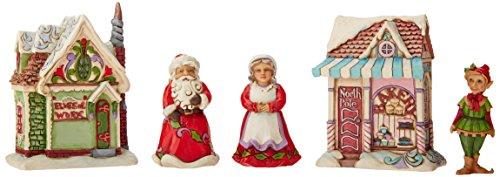 Jim Shore for Enesco 5 Piece Heartwood Creek Santa s Workshop-Bakery Set Figurine, 4.375