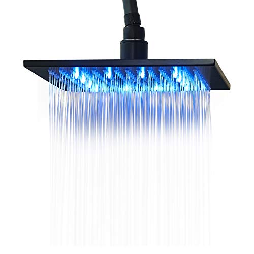 Rozin LED Light 10-inch Rainfall Shower Head Sqiare Overhead Spray Oil Rubbed Bronze