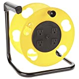 Bayco BAYK-2000 Cord Storage Reel With 4 Outlets & Resettable Circuit Breaker, Yellow/Black