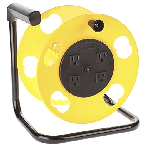 Outlet Single 15 Amp Circuit - Bayco SL-2000PDQ Cord Storage Reel with 4 Outlets and Resettable 15-Amp Circuit Breaker