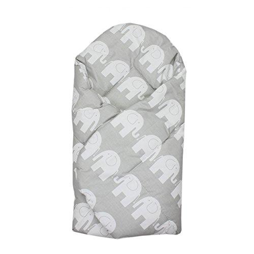 Baby Einschlagdecke Babydecke zum Einwickeln 100% Baumwolle Wickeldecke Warm Wattiert Wickelsack, Farbe: Elefant Grau, Größe: ca. 75 x 75 cm