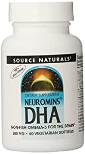 Source Naturals Neuromins DHA 200mg, Non-Fish Omega-3 for the Brain,60 Softgels