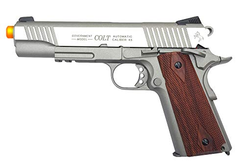 Silver Full Metal - KWC 1007239 Colt 1911 Rail Pistol Co2 Full Metal Blowback - Silver
