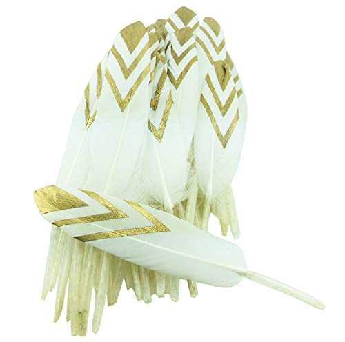 Colorful Gold Dipped Feather in Bulk for Craft Party Decoration Goose Feathers 20pcs/pack/ -