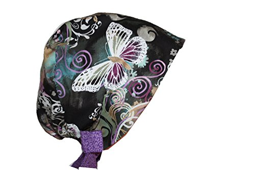 Gray Scrub Cap - Scrub Hat Chemo Cap European Pixie Tie Back MANY Colors (lilac teal butterfly)