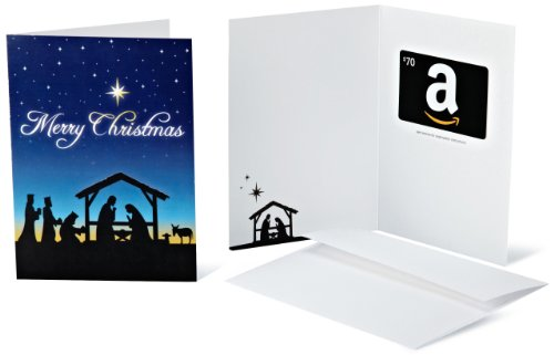 Amazon.com $70 Gift Card in a Greeting Card (Christmas Nativity Design) (Christmas Nativity Cards)