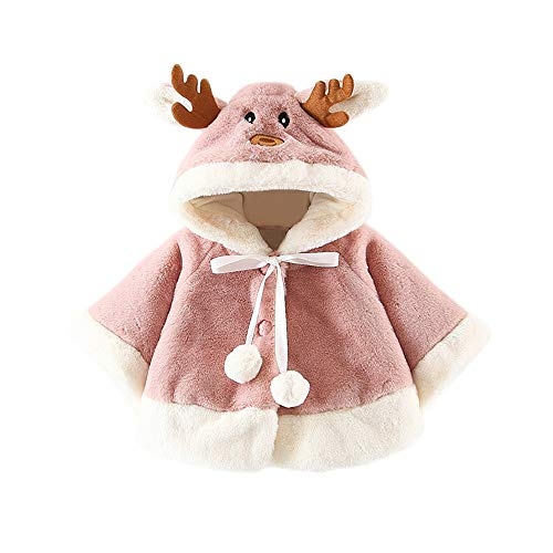 (Palarn Baby Girls Boys Autumn Winter Christmas Moose Antlers Hooded Cotton Coat Cloak Jacket Thick Warm Clothes (Pink2,)