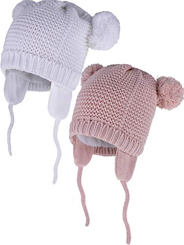 Zhehao 2 Pieces Baby Beanie Toddler Warm Knit Hats Fleece Lined Animals Shape Caps with Earflap for Boys and Girls Winter Supplies (Skin Pink and White, 0-6 Month Size)
