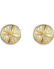 ShineDew Pendientes de Redondos Cubic Zirconia Quatrefoil Aretes de Quatrefoil Aretes de Oro
