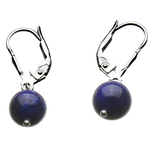 - Blue Lapis 8mm Stone Bead Sterling Silver Leverback Earrings