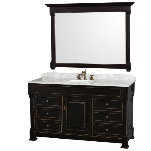Wyndham Collection Andover 60 inch Single Bathroom Vanity in Antique Black with White Carrera Marble Top with White Undermount Round Sink and 56 inch Mirror (Carved Vanity Bath)