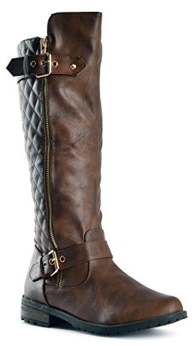 JJF Shoes Forever Mango-21 Women's Boots Brown Pu, 9 B(M) US