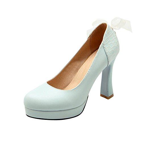 MissSaSa Damen high-heels Plateau Pumps/Brautschuhe mit seide Schleife Blau