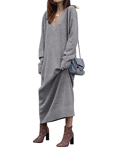 WLLW Casual Knitted V Neck Maxi Sweater Dress Women | Oversized Sweater Dresses Women