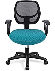 Deisy Dee Stretch Office Computer Chair Seat Covers, Removable Washable Anti-dust Desk Chair Seat Cushion Protectors C173 (Black Green)