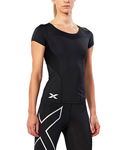 2XU Women's Short Sleeve Compression Top, Black/Black, Small (2xu Rash Guard)