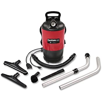 """Sanitaire EURSC412B Quiet Clean Backpack Lightweight Vacuum, 11.5 Amps Power, 21"""" Length x 10-1/2"""" Width x 10-1/2"""" Height, Black/Red"""