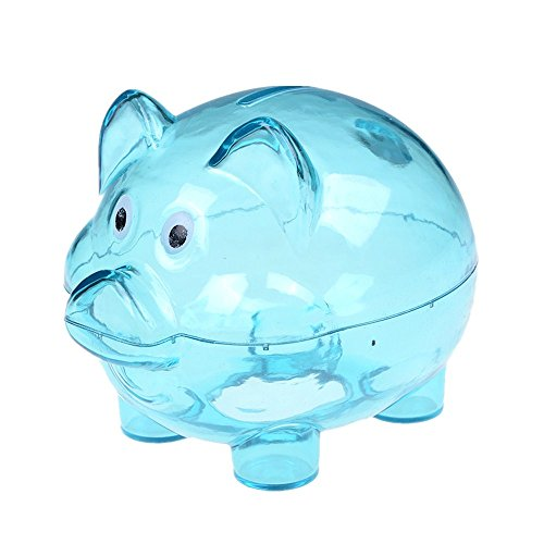 Money Pig - XMX Cartoon Pig Money Saving Box Transparent Plastic Case Coins Piggy Bank (Blue)